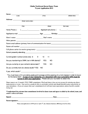 olathe northwest dance team tryouts form daily communication log template