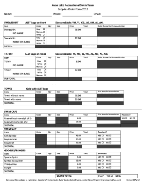 Avon Lake Recreational Swim Team Supplies Order Form 2012 Name
