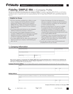 Fillable Online Company Profile Form (PDF) - Fidelity Fax