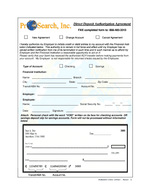 authorization agreement for direct deposits - Payroll Link, Inc.