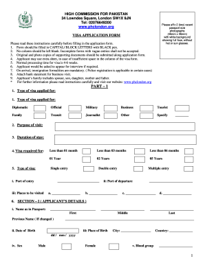 Uk visa form pakistan fillable
