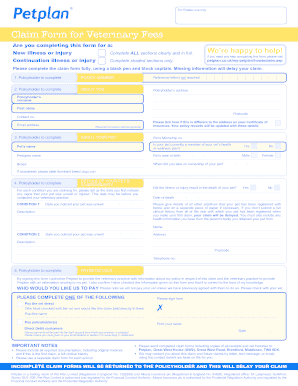Petplan Claim Form - Fill Online, Printable, Fillable, Blank ...