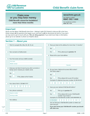 Child Benefit Form Word Fill Now