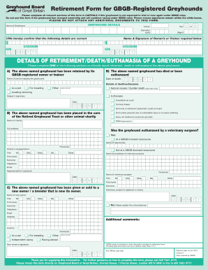 Fillable Online Retirement Form for GBGB-Registered Greyhounds ...