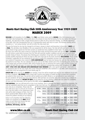 1 9 59 IVE ANN RSAR Y Y 5 th 0 2 0 09 Hunts Kart Racing Club 50th Anniversary Year 1959-2009 MARCH 2009 WELCOME to all Competitors for the FINAL of the TWO round Winter series and the SECOND of the 50th Anniversary year 2009 HKRC Club