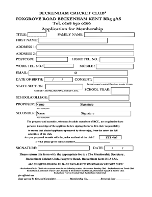 Club Membership Application Template from www.pdffiller.com