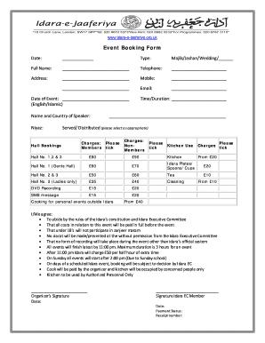 Fillable Online Event Booking Form - Idara-e-Jaaferiya London - Home