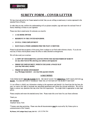 samples of surety cover letter form