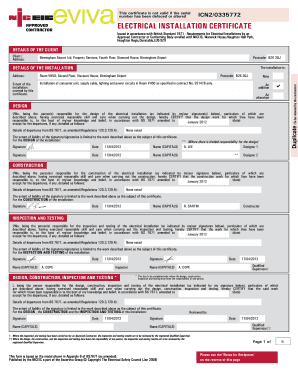 Samples Of Electrical Certificate Fill Online Printable
