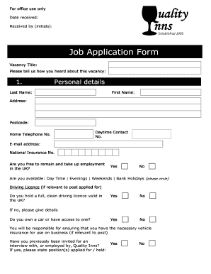 quality inn job application pdf fill online printable fillable