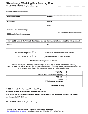 Fillable online silverlinings wedding fair booking form name date rate this form thecheapjerseys Choice Image
