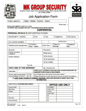 security job application fill online printable