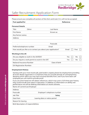 Fillable Online Safer Recruitment Application Form