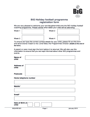 Football Registration Form Template Word Edit Fill Out Online