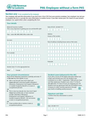 2011-2019 Form UK HMRC P46 Fill Online, Printable ...