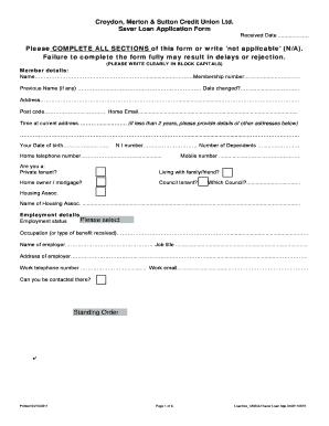 Fillable Online Loan Application Form - Croydon Savers Credit ...