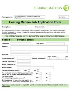 Job Application Form Template - Hearing Matters