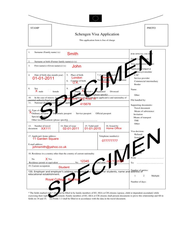 Sample Schengen Visa Application Form Filled Fill Online Printable Fillable Blank Pdffiller