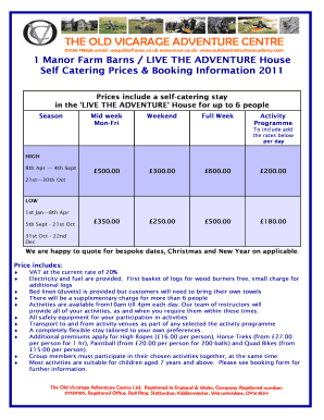 Activity Stay and Accommodation Booking Form 2011 Fill