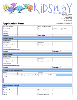 Child Care Registration Form - Fill Online, Printable, Fillable ...