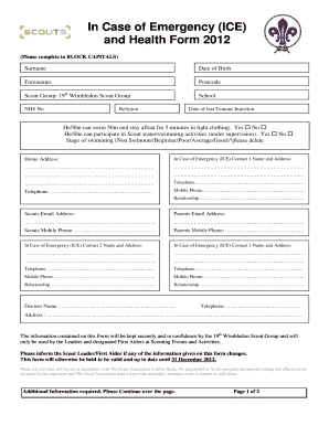 Fillable Ince Case Of Emergency Form - Fill Online, Printable ...