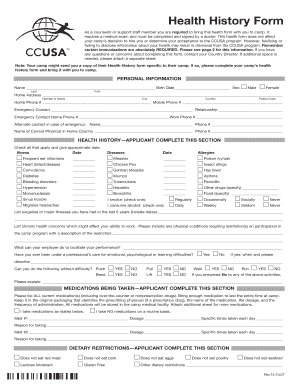 fillable online ccusa health history form ccusa fax email print