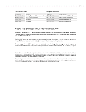 Magyar Telekom Files Form 20-F for Fiscal Year 2010