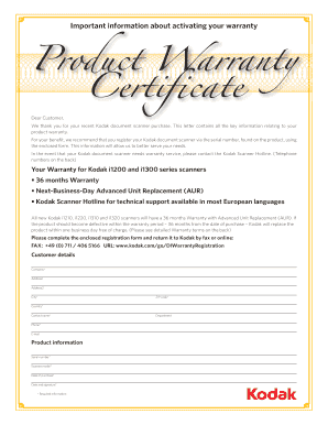 warranty certificate form