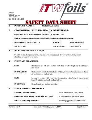 Fillable Online SDS Form Fax Email Print - PDFfiller