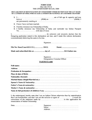 Form Xxii The Citizenship Rules 2009 - Fill Online, Printable ...