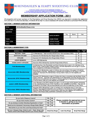 club membership form template