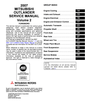 service manual mitsubishi outlander 2 fill online printable rh pdffiller com 1999 Mitsubishi Outlander 2011 Mitsubishi Outlander Sport White
