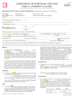 sample of purchase and sale agreement real estate ns filled out form