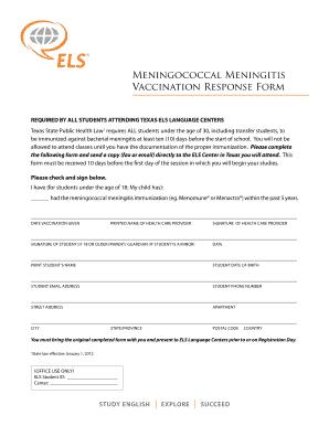 Fillable Online Meningococcal Meningitis Vaccination Response Form ...