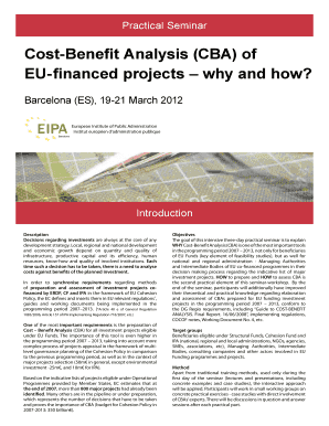 Cost-Benefit Analysis (CBA) of EU-financed projects why and how?