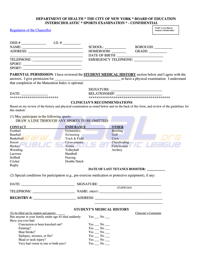 sports physical form va  Sports Examination Form - Fill Online, Printable, Fillable ...