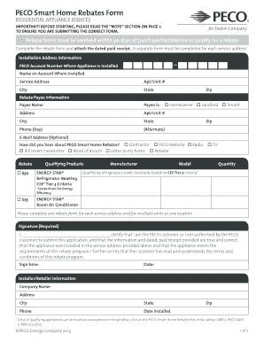 Peco Rebates Forms For Residential Appliance - Fill Online ...