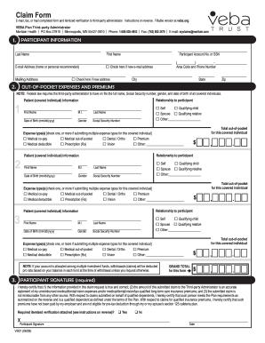 Veba Claim Form - Fill Online, Printable, Fillable, Blank | PDFfiller
