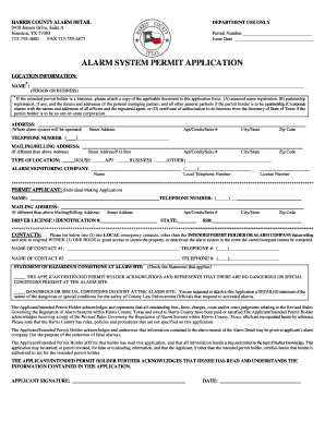Alarm System Application - Fill Online, Printable, Fillable, Blank ...