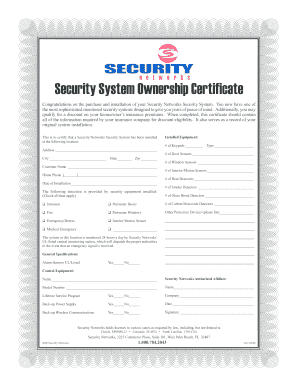 Security System Ownership Certificate - Security Networks