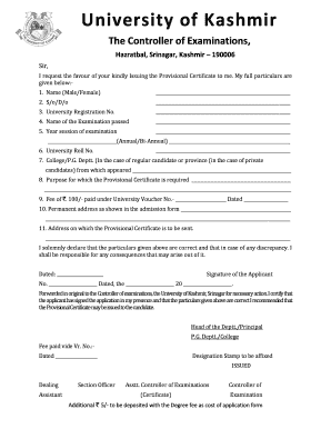 Degree Form Kashmir Iniv - Fill Online, Printable, Fillable, Blank