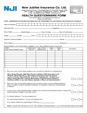 Health Insurance Questionnaire Form - Fill Online, Printable ...