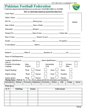 fill a form in football