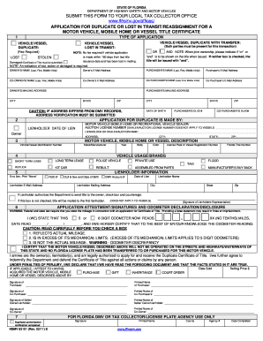 Florida Application For Duplicate Or Lost In Transitreassignment ...