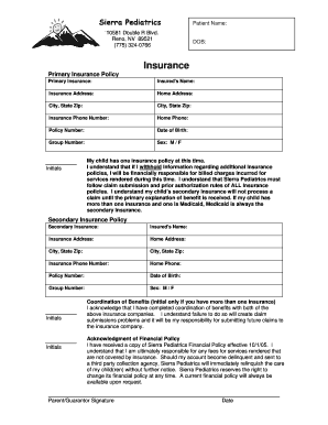 Pediatric Insurance Verification Form Fill Online Printable