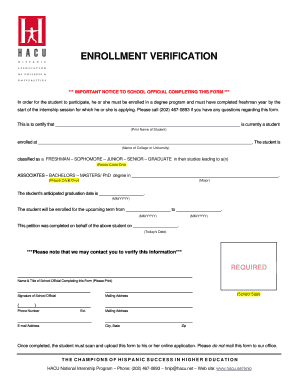 Enrollment Verification Hispanic Association Of Colleges And