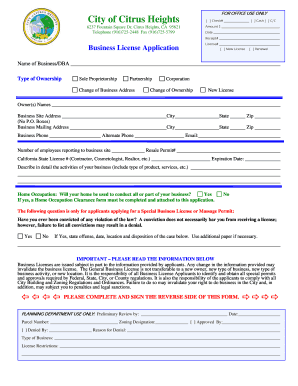 citrus heights business license form