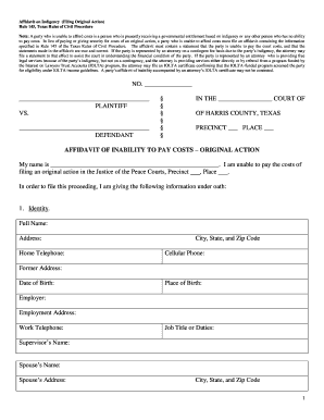Indigency Form - Fill Online, Printable, Fillable, Blank