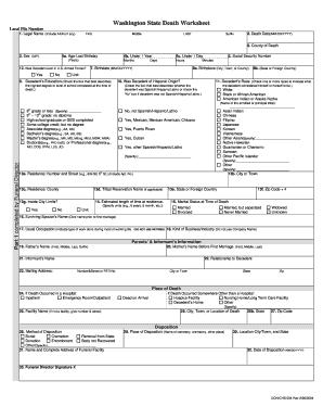 Washington State Death Worksheet Fill Online Printable
