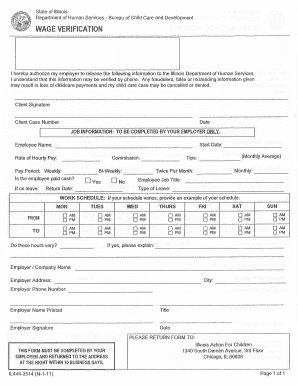 Illinois Form Wage Verification